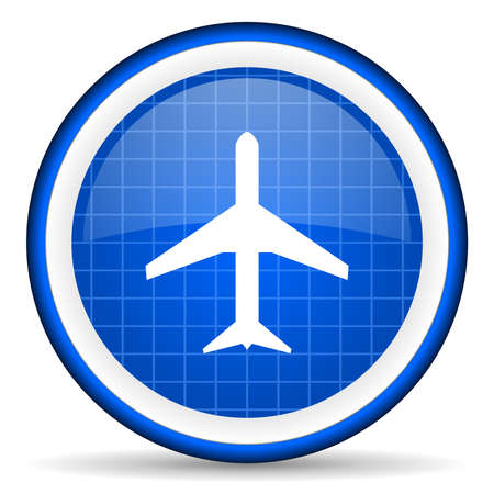 airplane blue glossy icon on white background photo