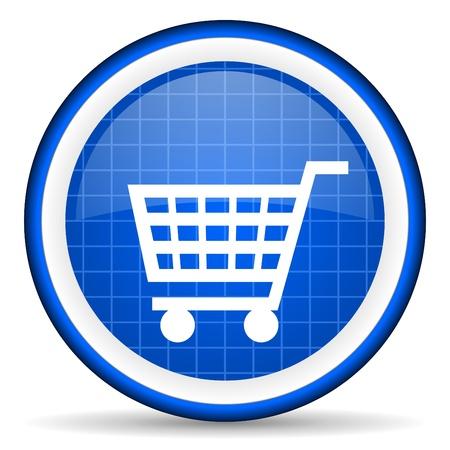 shopping cart blue glossy icon on white background Stock Photo - 16581316