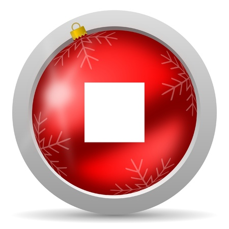 stop red glossy christmas icon on white background Stock Photo - 16580402
