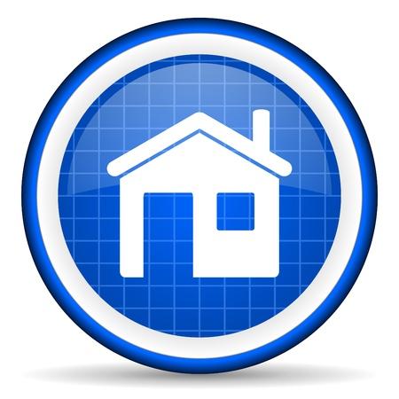 icono home: casa azul brillante icono en el fondo blanco Foto de archivo