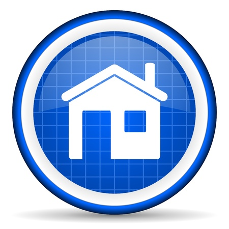 home blue glossy icon on white background photo