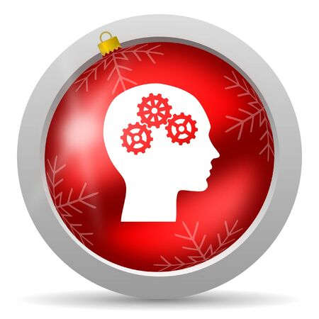 head red glossy christmas icon on white background photo