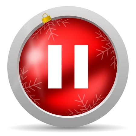 pause red glossy christmas icon on white background Stock Photo - 16580406