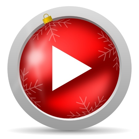 christmas music: play red glossy christmas icon on white background