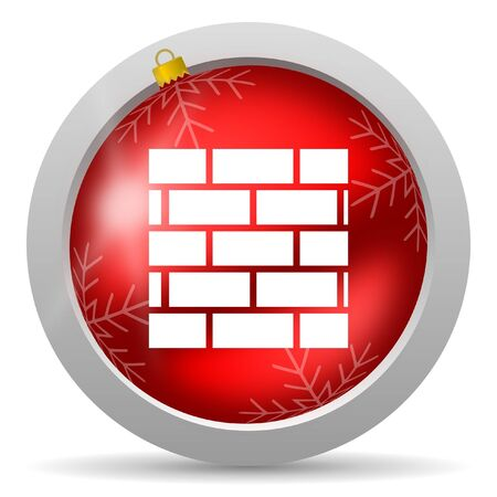 firewall red glossy christmas icon on white background Stock Photo - 16580450