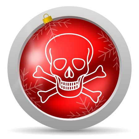 skull red glossy christmas icon on white background Stock Photo - 16581061