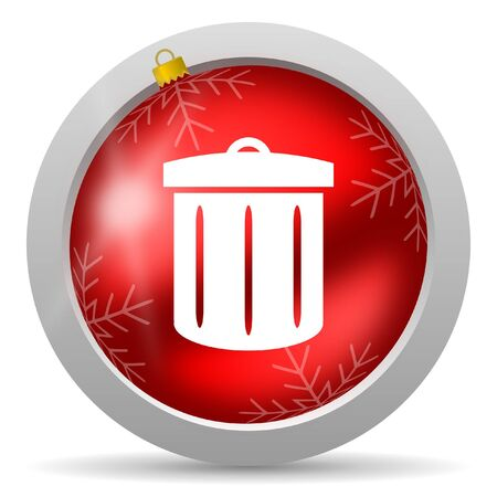 recycle red glossy christmas icon on white background  Stock Photo