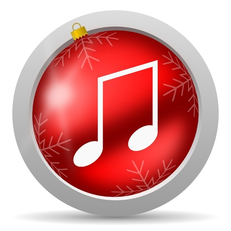 music red glossy christmas icon on white background photo