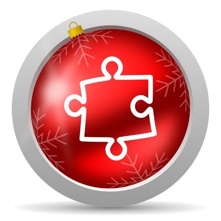 puzzle red glossy christmas icon on white background photo