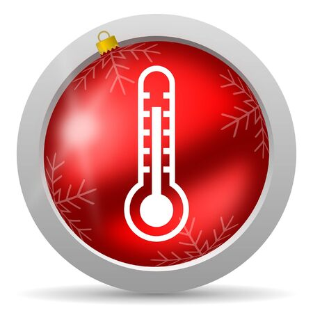 thermometer red glossy christmas icon on white background photo
