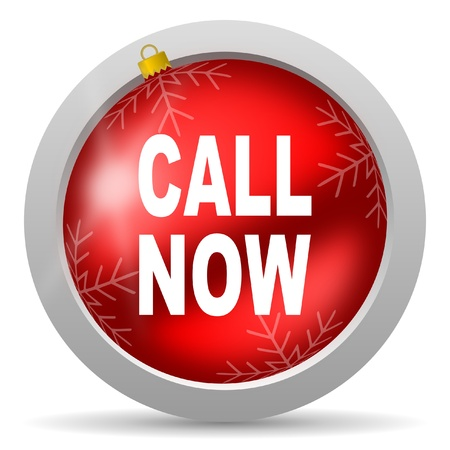 call now red glossy christmas icon on white background  photo