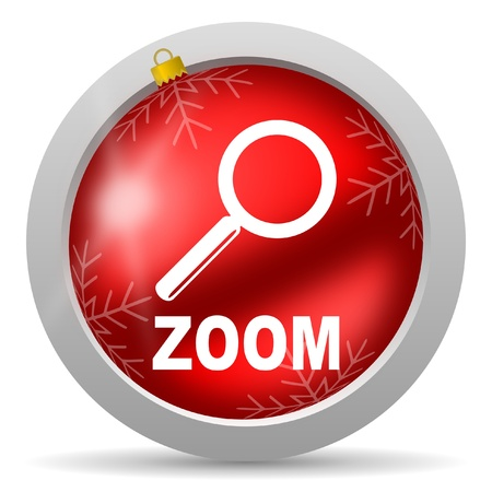 zoom red glossy christmas icon on white background Stock Photo - 16581033