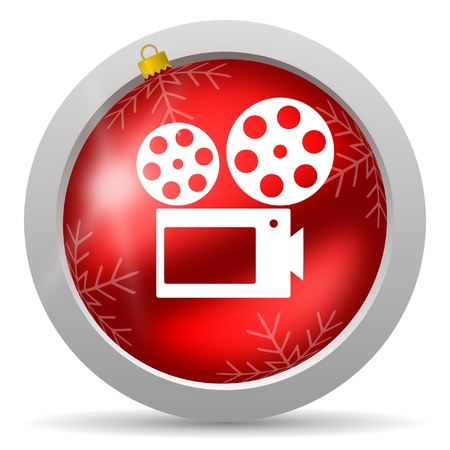 cinema red glossy christmas icon on white background photo