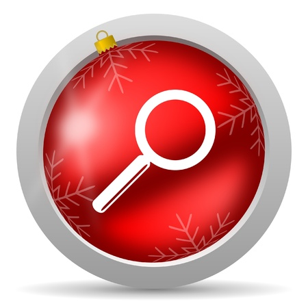 search red glossy christmas icon on white background Stock Photo - 16581007