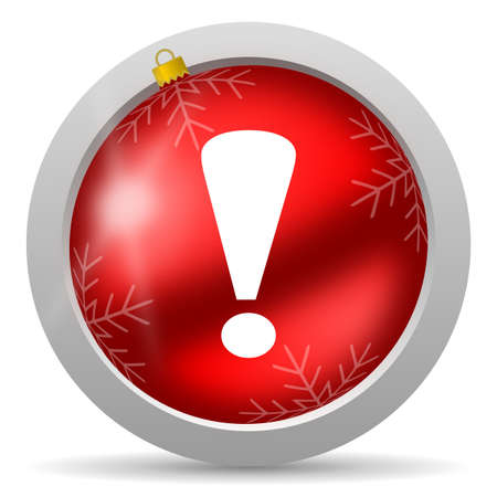 exclamation sign red glossy christmas icon on white background Stock Photo - 16580452