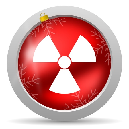 radiation red glossy christmas icon on white background Stock Photo - 16580451