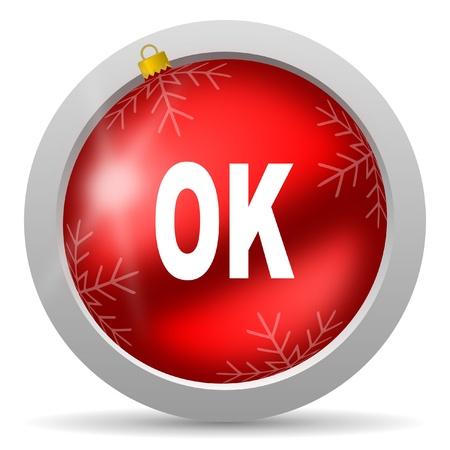 ok red glossy christmas icon on white background Stock Photo - 16580493