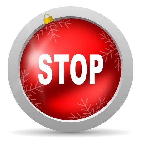 stop red glossy christmas icon on white background Stock Photo - 16580670