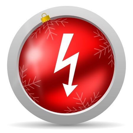 lightning red glossy christmas icon on white background photo