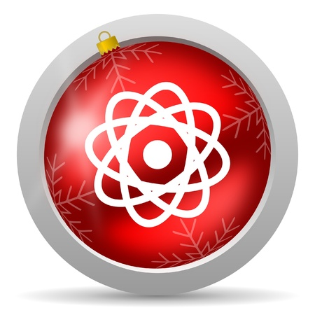 atom red glossy christmas icon on white background Stock Photo - 16581055