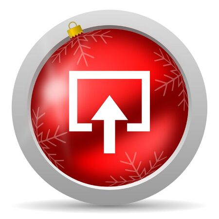 enter red glossy christmas icon on white background photo