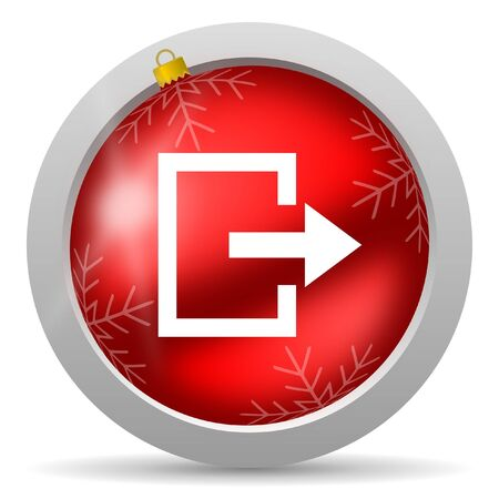exit red glossy christmas icon on white background