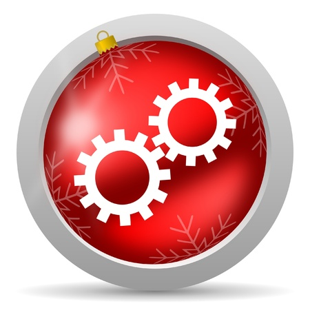 gears red glossy christmas icon on white background Stock Photo