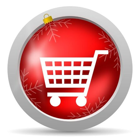 shopping cart red glossy christmas icon on white background Stock Photo - 16580676