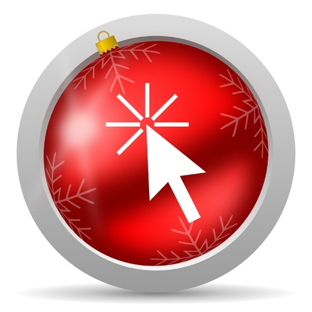 click here red glossy christmas icon on white background Stock Photo - 16580924