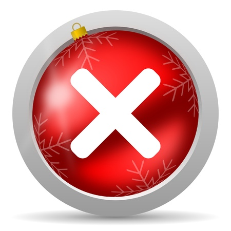 cancel red glossy christmas icon on white background Stock Photo - 16580484