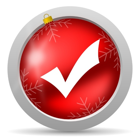 accept red glossy christmas icon on white background Stock Photo - 16580468