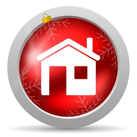 home red glossy christmas icon on white background photo