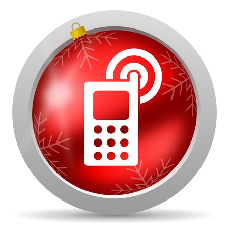 cellphone red glossy christmas icon on white background photo