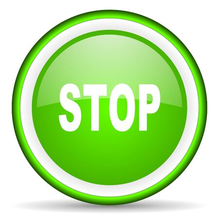 stop green glossy icon on white background Stock Photo - 16622900