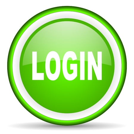 login green glossy icon on white background photo