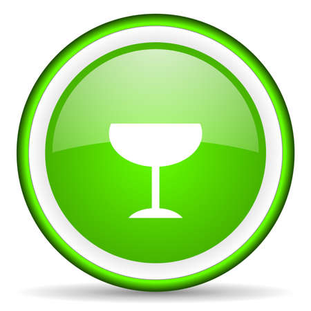 glass green glossy icon on white background photo