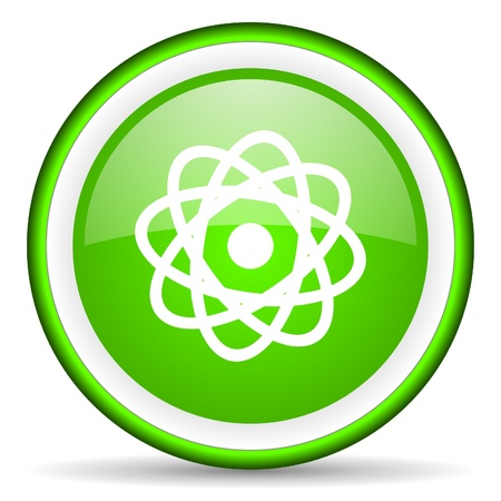 gamma radiation: atom green glossy icon on white background