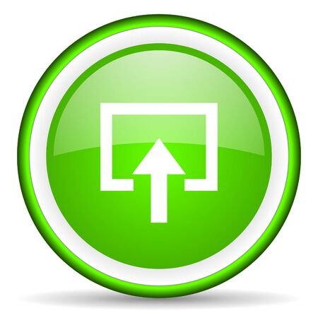 enter green glossy icon on white background photo
