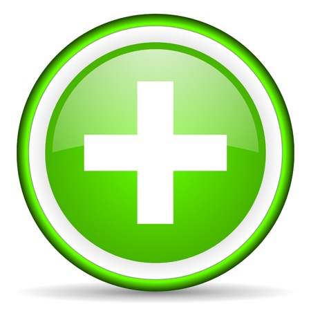 emergency green glossy icon on white background photo