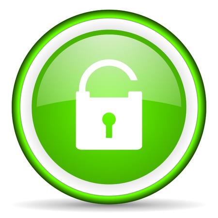 padlock green glossy icon on white background photo