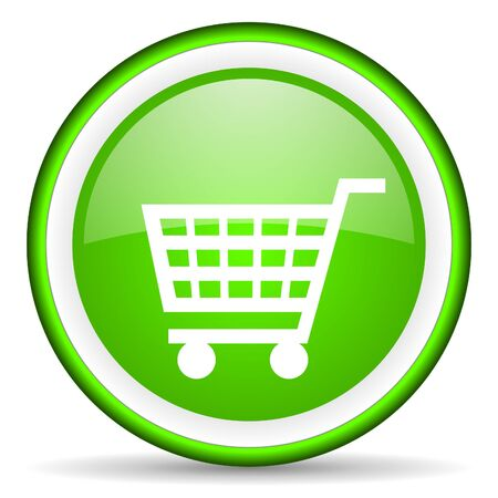 shopping cart green glossy icon on white background Stock Photo - 16622996