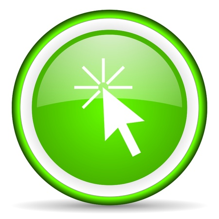 click here green glossy icon on white background Stock Photo - 16622927
