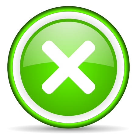 cancel green glossy icon on white background Stock Photo - 16622853