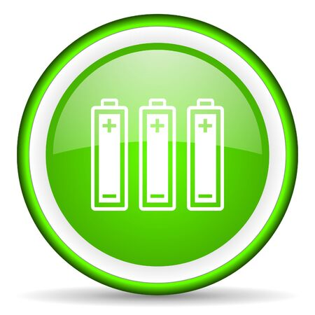 batteries green glossy icon on white background photo