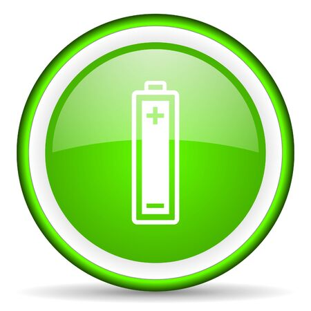 battery green glossy icon on white background  photo