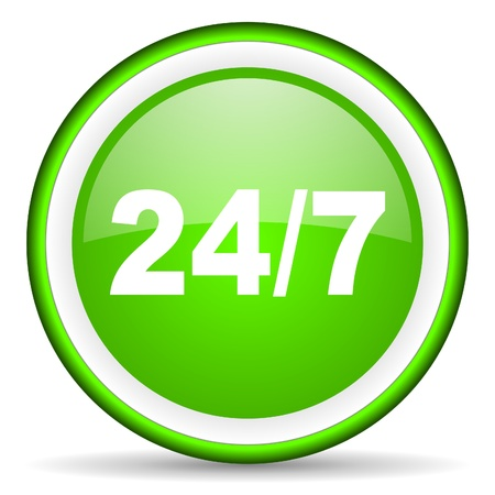 24/7 green glossy icon on white background photo