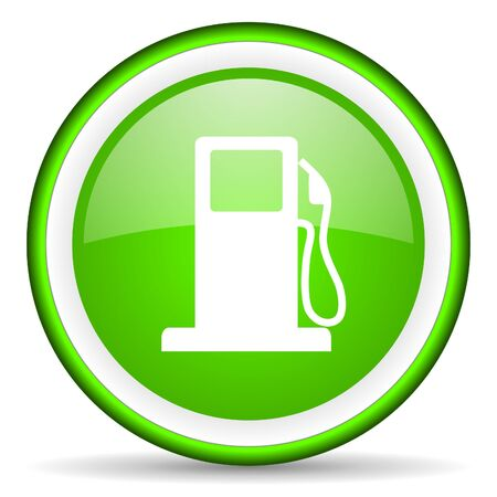 engine oil: fuel green glossy icon on white background