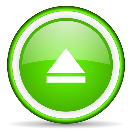 eject: eject green glossy icon on white background