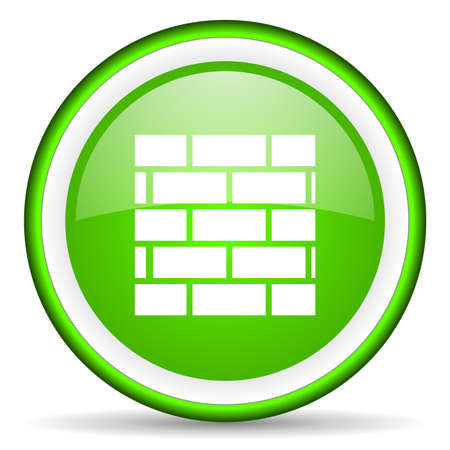 firewall green glossy icon on white background Stock Photo - 16622865