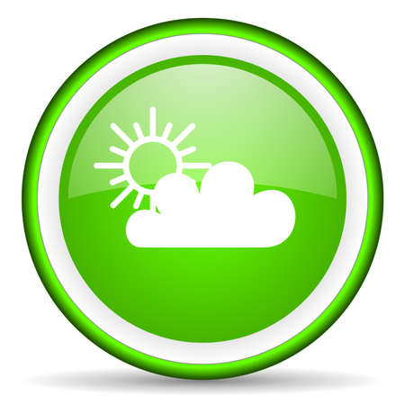 meteo: weather green glossy icon on white background